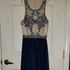 formal dark blue dress